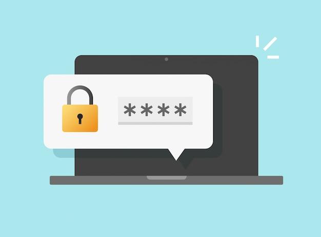Avviso push accesso di sicurezza password sul computer portatile Vettore Premium