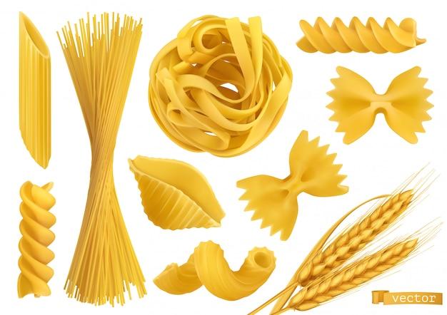 Pasta, set di oggetti vettoriali realistici 2d. illustrazione di cibo Vettore Premium