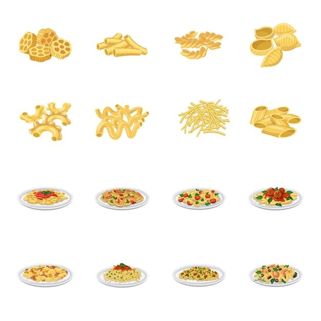 Insieme dell'icona del fumetto di pasta, pasta italiana. Vettore Premium