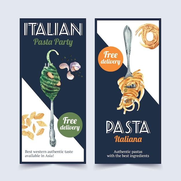 Progettazione dell'aletta di filatoio della pasta con gli spaghetti, illustrazione dell'acquerello della forcella. Vettore Premium