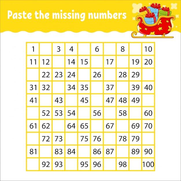 Incolla i numeri mancanti da 1 a 100. pratica della scrittura a mano. imparare i numeri per i bambini. Vettore Premium