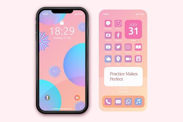 Modello di schermata iniziale pastello per smartphone Vettore Premium