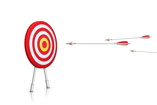 Percorso verso il successo. scopo realistico e frecce su sfondo bianco. illustrazione. Vettore Premium
