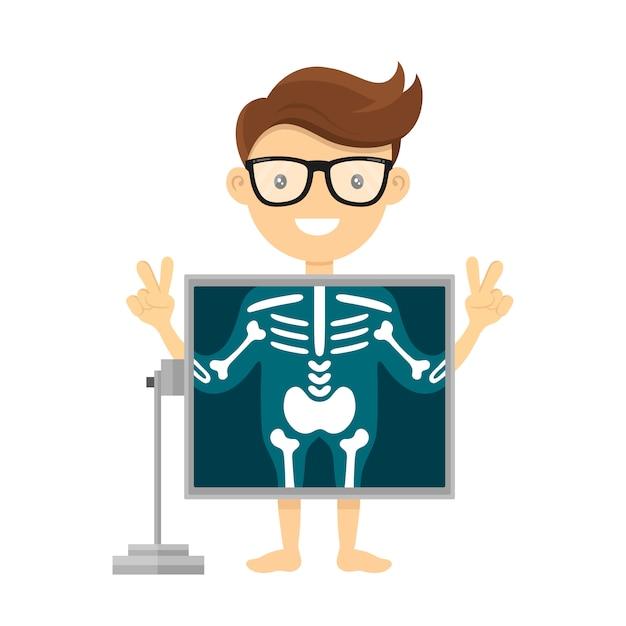 Paziente durante la procedura radiografica. illustrazione del fumetto del carattere piatto dei raggi x del radiologo. isolato su bianco Vettore Premium