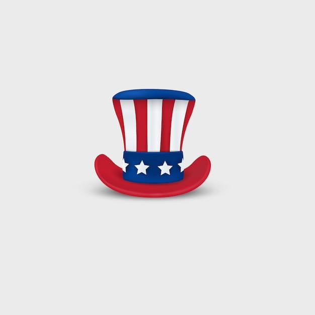 Zio sam hat patriottico isolato. design per la decorazione, festività americane, festa dell'indipendenza, 4 luglio. vista frontale Vettore Premium