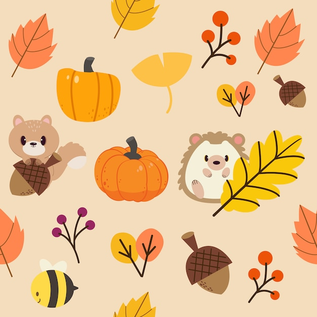 Il modello di foglie autunnali e animali della fauna selvatica. il modello di foglia arancione e il tono giallo. Vettore Premium