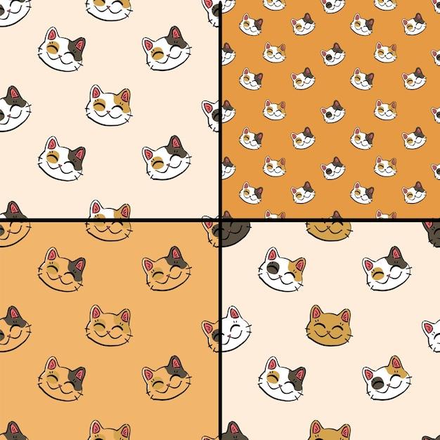 Collezione di motivi con gatto fortunato inchiostro (maneki neko) su sfondi dorati e beige. Vettore Premium