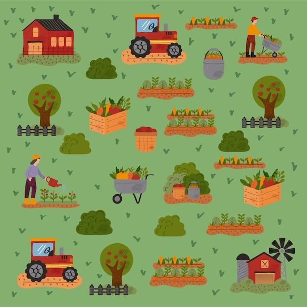Modello di azienda agricola e agricoltura impostare icone illustrazione vettoriale design Vettore Premium