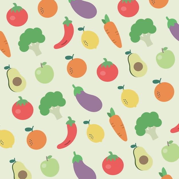Modello frutta e verdura foodie sano colorato Vettore Premium