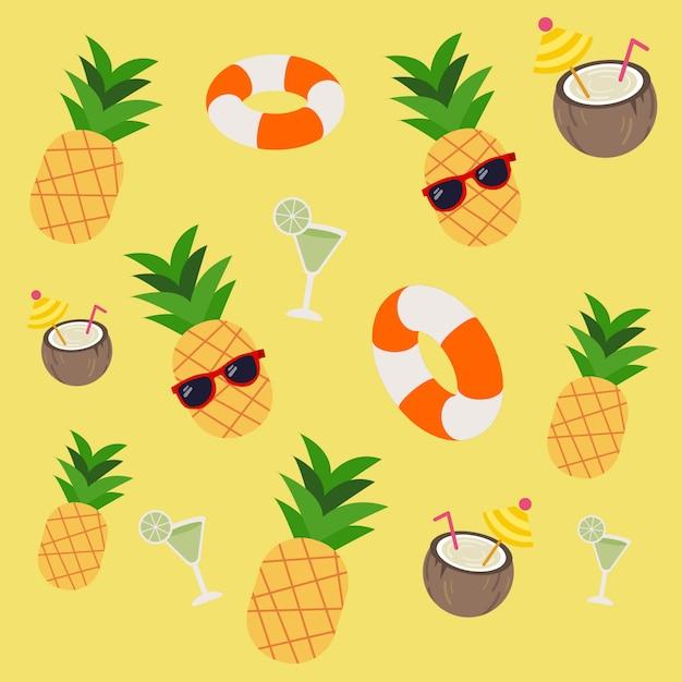 Modello di soda ananas lifering in tema trapicale Vettore Premium