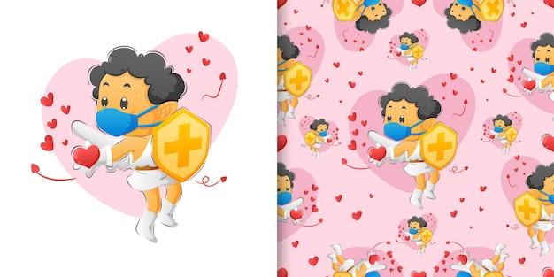 Il set di pattern del ragazzo cupido che tiene lo scudo e diffonde l'amore alle persone dell'illustrazione Vettore Premium