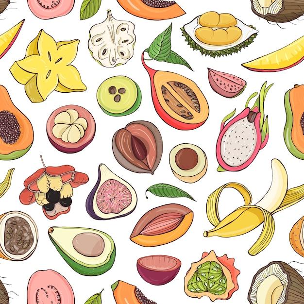 Modello con frutti tropicali esotici succosi freschi tagliati o divisi su sfondo bianco Vettore Premium