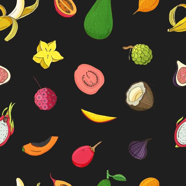 Modello con frutti tropicali esotici. Vettore Premium