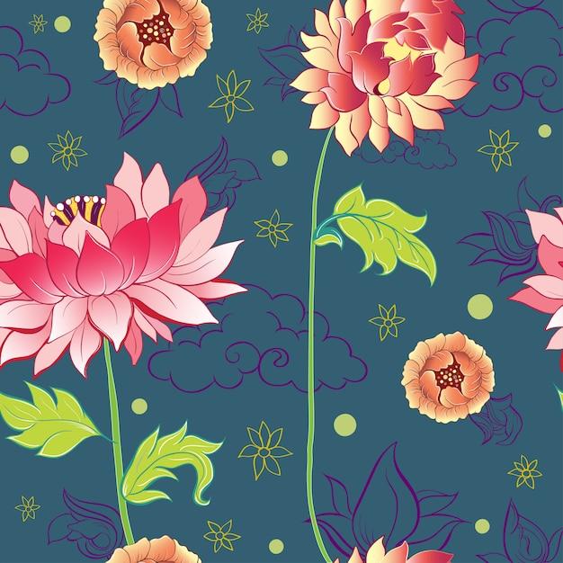Modello con fiori di loto, peonie e crisantemi Vettore Premium