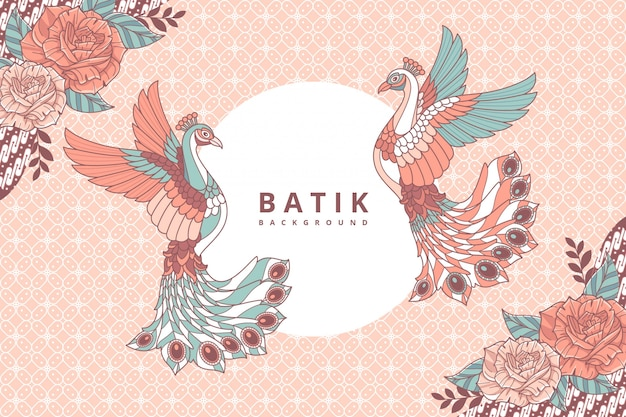 Pavone sfondo batik Vettore Premium