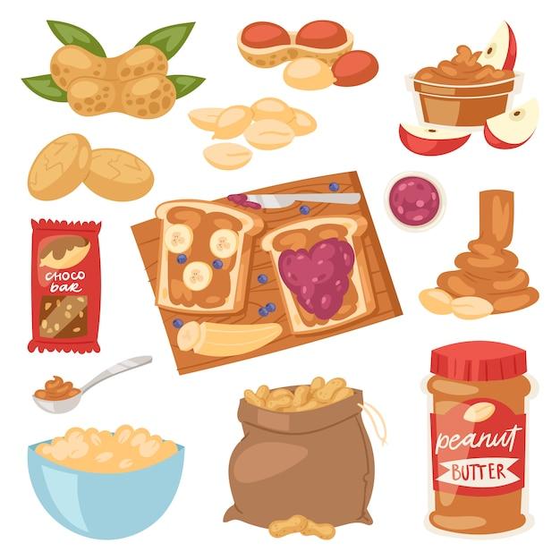 Burro di arachidi arachidi o pasta di arachidi su pane tostato illustrazione set di nutriente crema di noci o guscio di noce isolato su sfondo bianco Vettore Premium