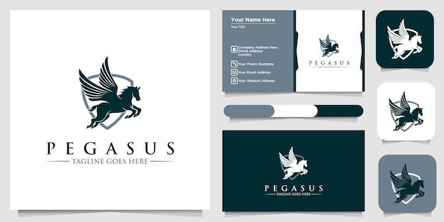 Logo pegasus, segno di ala di cavallo pegasus, simboli o modelli di logo e biglietti da visita Vettore Premium
