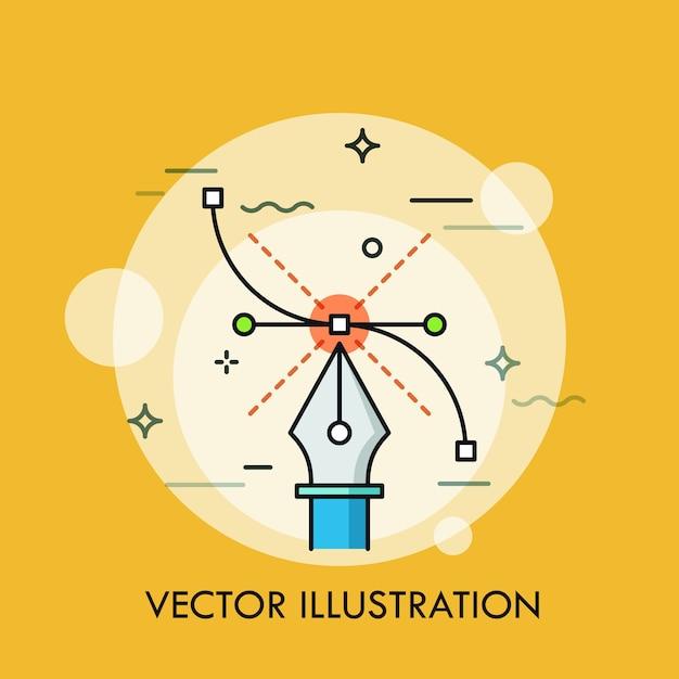 Strumento penna e curva di bézier. concetto di software moderno per la creazione di illustrazioni vettoriali, tecniche di progettazione grafica, web e digitale Vettore Premium