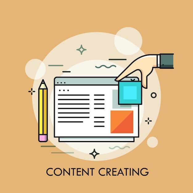 Matita, mano umana e finestra del programma o del sito web. concetto di creazione di contenuti web o internet, creazione e organizzazione di pagine web, blog Vettore Premium