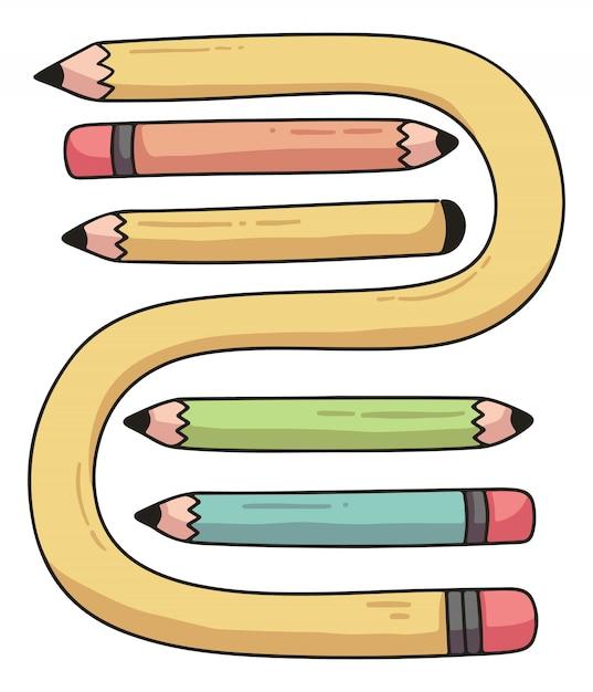 Set di matite illustrazione di cartone animato carino Vettore Premium