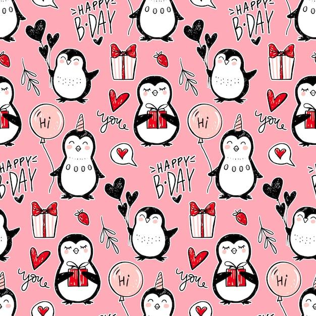 Modello senza cuciture del pinguino. sfondo di animali divertenti. struttura disegnata a mano del fumetto con simpatici personaggi. stile doodle. Vettore Premium