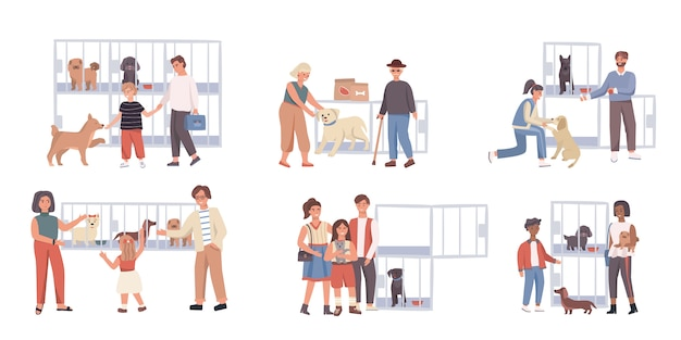 La gente che adotta cane dal riparo per animali domestici, illustrazione Vettore Premium