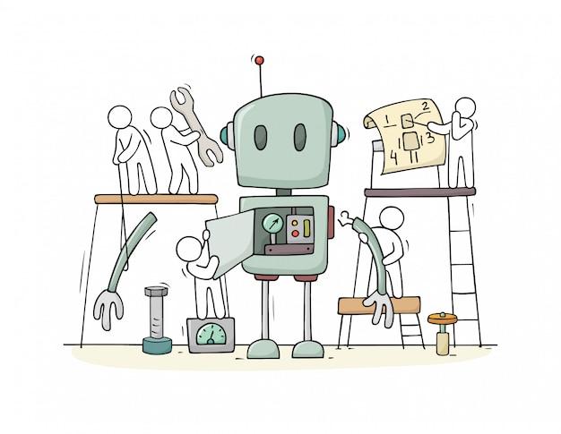 Persone e assemblati costruzione robot carino Vettore Premium