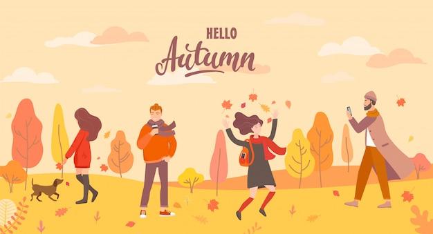 Le persone nel parco in autunno in diverse situazioni. Vettore Premium