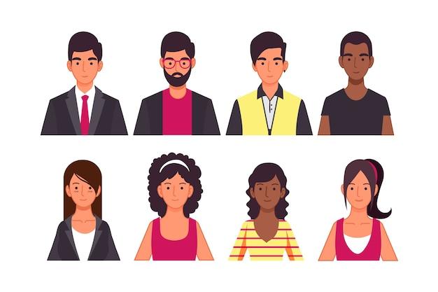 Concetto dell'avatar della gente per il concetto dell'illustrazione Vettore Premium