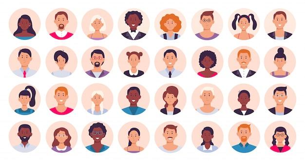 Avatar di persone. raccolta rotonda sorridente dell'illustrazione dell'icona dell'icona degli avatar del ritratto, della femmina e del maschio del cerchio umano Vettore Premium