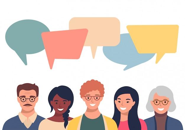 Avatar di persone con bolle di discorso. comunicazione di uomini e donne, parlando llustration. colleghe, squadra, pensiero, domanda, idea, concetto di brainstorming. Vettore Premium