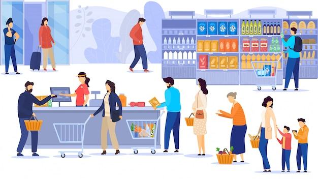 La gente che compra alimento in supermercato, linea alla cassa, clienti della drogheria, illustrazione Vettore Premium