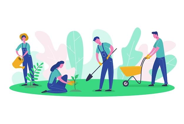Personaggi di persone giardiniere e contadino lavorano in giardino. albero della raccolta della donna, verde della piantagione femminile, scavo dell'uomo. ecologia pulita del fumetto piatto e attrezzi da giardino Vettore Premium