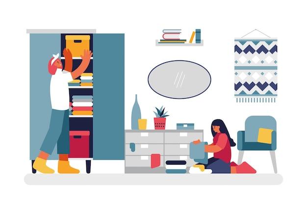Illustrazione della stanza di pulizia della gente. il personaggio femminile sta ordinando e pulendo i cassetti dei vestiti nell'armadio. l'adolescente che si siede sul pavimento impila ordinatamente le cose di colore e gli asciugamani vettore piatto. Vettore Premium