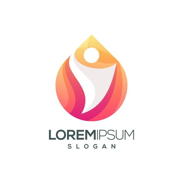 Logo gradiente colorato di persone Vettore Premium