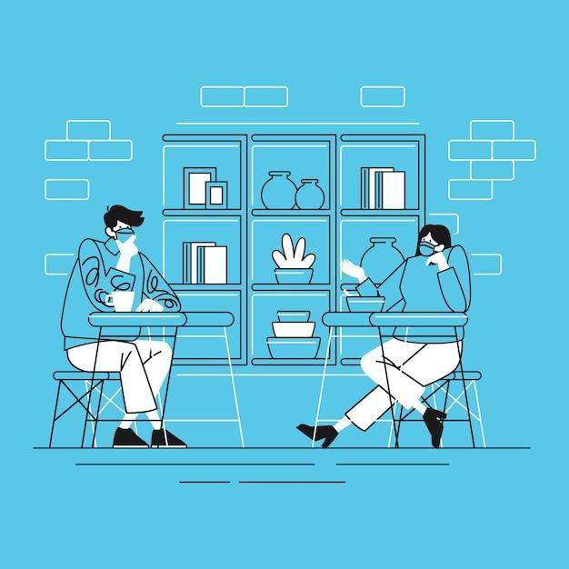 Conversazione di persone nella nuova attività normale distanziamento sociale al ristorante con stile di linea Vettore Premium