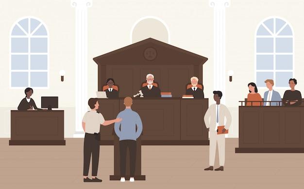 Illustrazione di persone in tribunale. cartone animato avvocato piatto avvocato e personaggio accusato in piedi davanti al giudice e alla giuria sul processo di difesa legale o tribunale, sfondo interno aula Vettore Premium