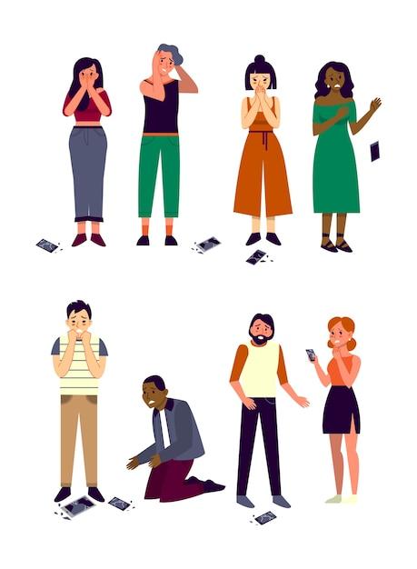 Persone di razza e sesso diversi che lasciano cadere il telefono. la gente piange con lo smartphone con schermo rotto. persone spaventate e tristi con il telefono rotto. Vettore Premium
