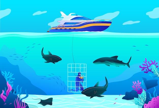 Persone immersioni illustrazione vettoriale. carattere di subacqueo professionale piatto del fumetto che esplora la fauna tropicale del mare dell'oceano, natura subacquea, nuotare con lo squalo Vettore Premium