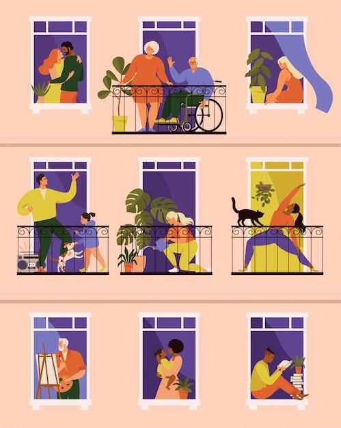 Le persone fanno attività nei loro balconi e finestre Vettore Premium
