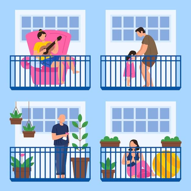 Persone che svolgono varie attività sul balcone Vettore Premium