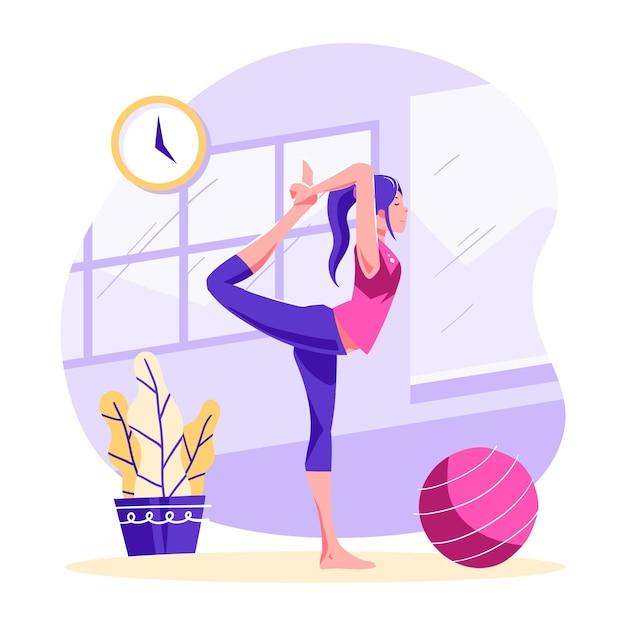 Le persone che fanno yoga Vettore Premium