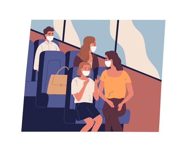 Persone con maschere facciali che si recano al lavoro o viaggiano in autobus durante la pandemia di coronavirus. passeggeri di sesso maschile e femminile seduti all'interno dei moderni mezzi di trasporto pubblico mentre le restrizioni covid. illustrazione piatta. Vettore Premium