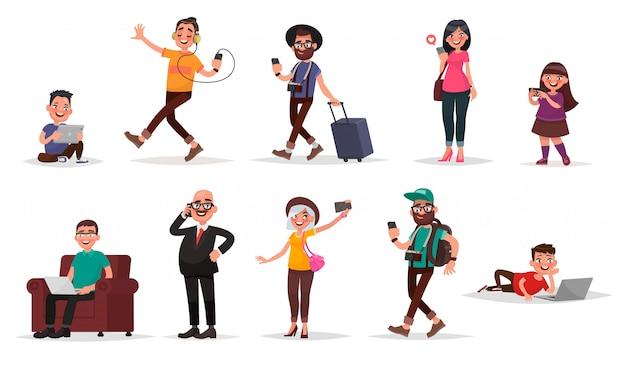 Persone e gadget. set di bambini, giovani e adulti con i loro dispositivi mobili. Vettore Premium