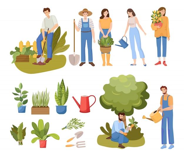 Illustrazione di giardinaggio persone. persone innaffiare le piante e scavare il giardino. Vettore Premium