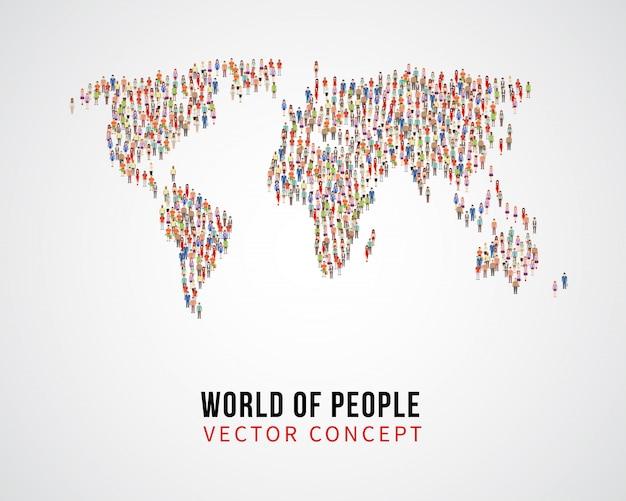 Collegamento globale della gente, popolazione della terra sul concetto di vettore della mappa di mondo Vettore Premium