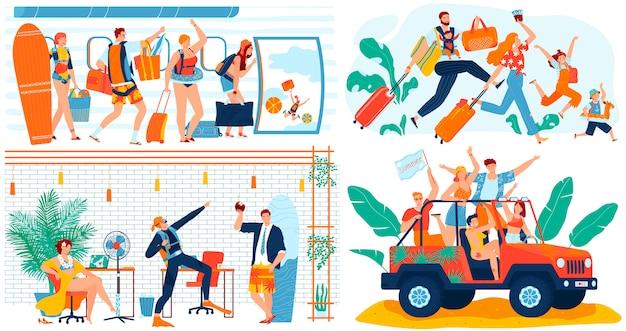 La gente che va in viaggio vacanze estive, concetto divertente, personaggi dei cartoni animati viaggia, illustrazione. Vettore Premium