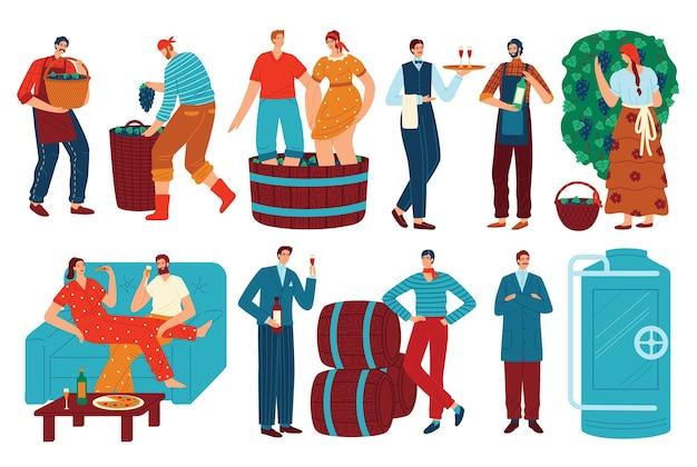 Insieme dell'illustrazione di vettore del vino dell'uva e della gente. fumetto piatto uomo donna personaggio bere vino, enologo raccolta vendemmia in vigna per la produzione di vino Vettore Premium