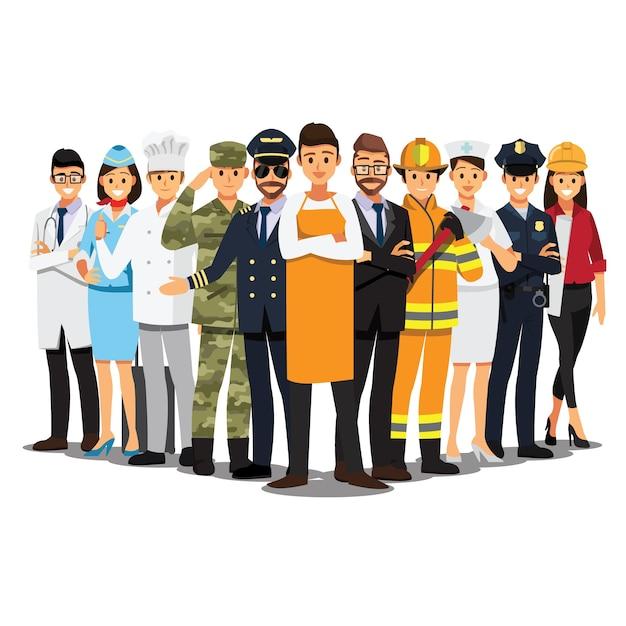 Le persone raggruppano diversi lavori Vettore Premium