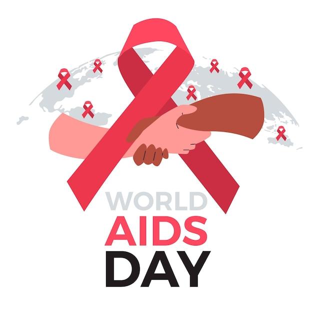 Persone che si tengono per mano il giorno dell'aids Vettore Premium